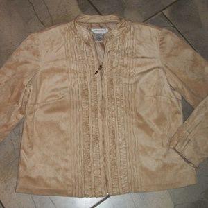Coldwater Creek Tan Suede Cloth Zip Front Jacket